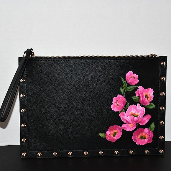 White House Black Market Floral Zip Pouch #5703057